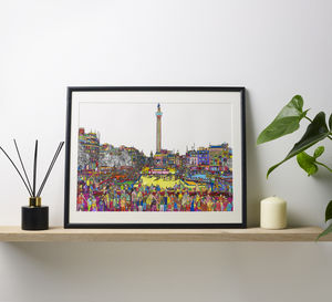 Trafalgar Square Original Multicoloured Illustration - limited edition art