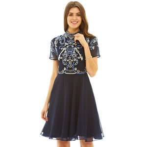 Vana Sequin High Neck Skater Dress Navy