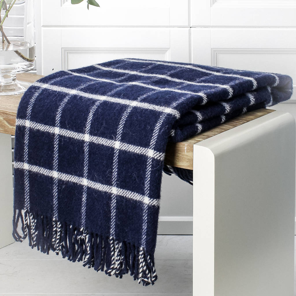 Navy Blue White And Gray Bedroom: Navy Blue And White Check Wool Throw By Marquis & Dawe