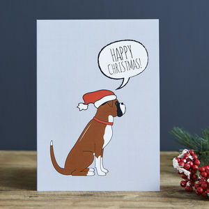 Pack Of Six Boxer Christmas Cards