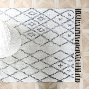 Off White Shaggy Diamond Rug - rugs & doormats