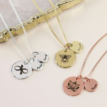 Engraved Symbol Disc Charm Necklace