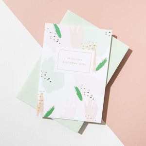 'Hey There Birthday Girl' Card, Powder Green Envelope