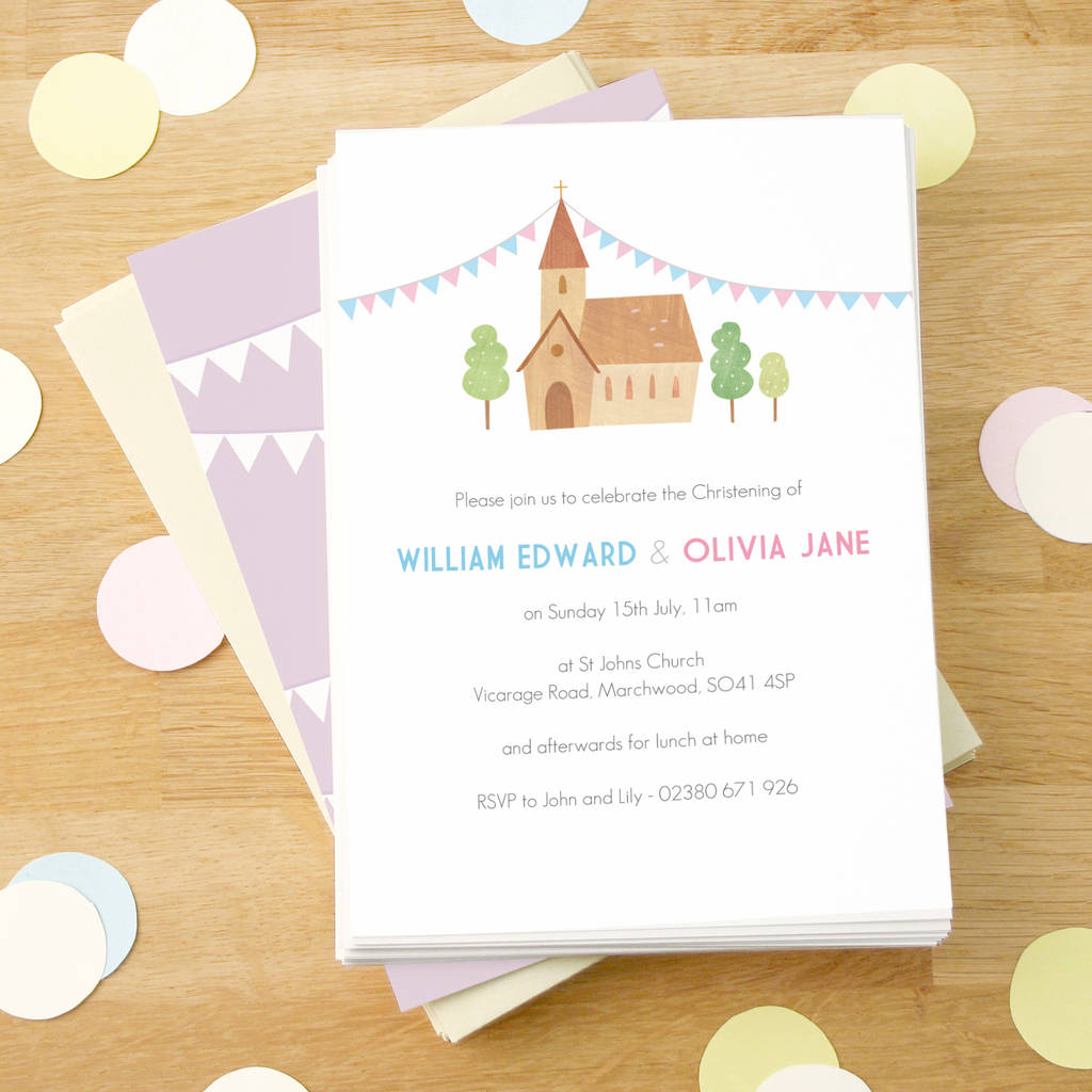 personalised twin\'s christening invitations by made by ellis ...