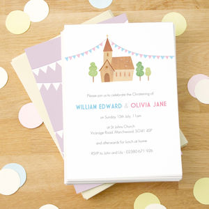 Personalised Twin's Christening Invitations - christening invitations