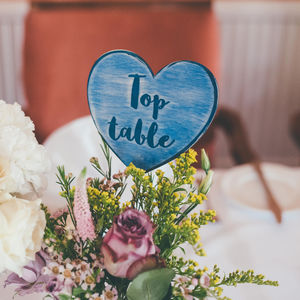 Love Hearts Wedding Table Numbers - top table decorations