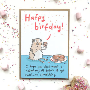 'Cake And Hamster' Birthday Card - shop by category
