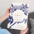Botanical Anniversary print in Navy and Gold