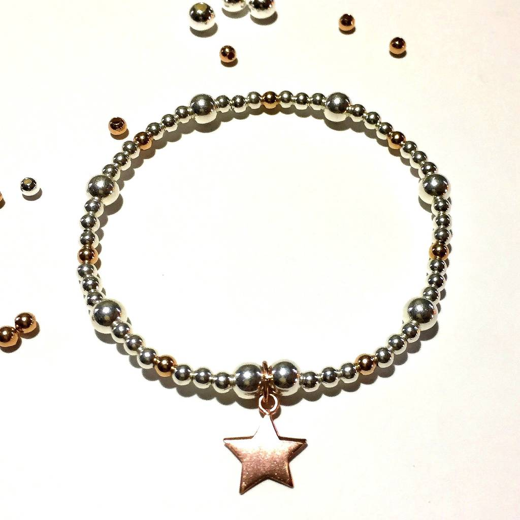 sterling silver rose gold star bracelet by flawless. Black Bedroom Furniture Sets. Home Design Ideas
