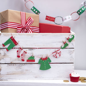Elf Peg Clothing Washing Line Christmas Bunting Garland - garlands & bunting