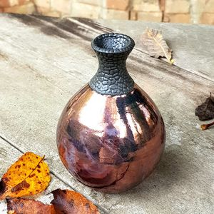 Copper Glazed Raku Bottle