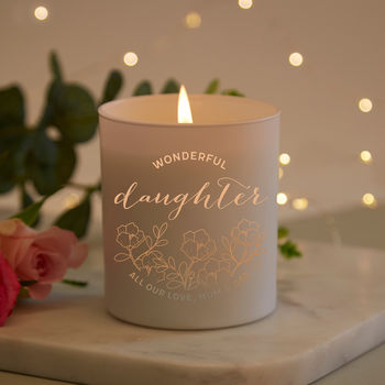 Daughter Gift Floral Personalised Candle
