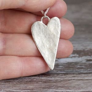Recycled Sterling Silver Hammered Heart Necklace