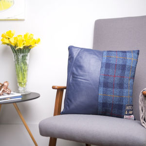 Leather And Harris Tweed Split Design Cushion - bedroom