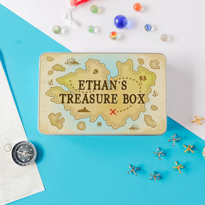 Children's Personalised 'Treasure Box' Storage Tin - storage