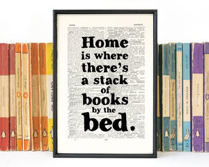 Literary 'Stack Of Books By The Bed' New Home Print
