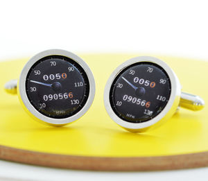 Personalised Black Car Speedometer Cufflinks - gifts for him