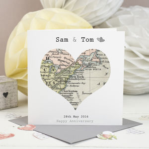 Wedding And Anniversary Map Heart Card - anniversary gifts