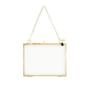 Brass Metal And Glass Hanging Photo Frame - new in home