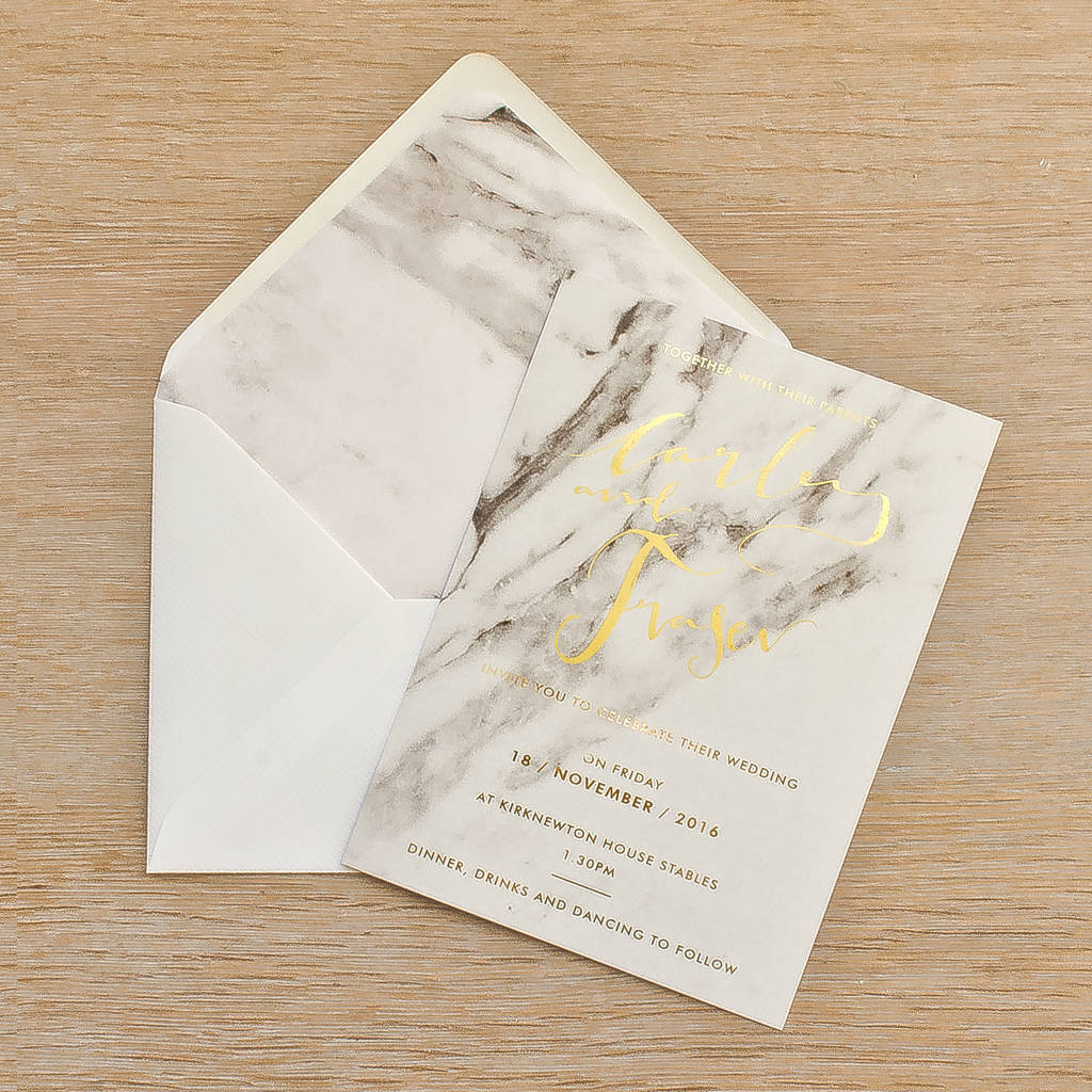 marble foil wedding invitation set by skinny malink