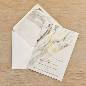Marble Foil Wedding Invitation Set
