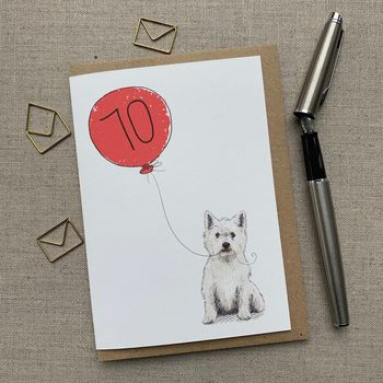 Personalised Westie West Highland 70th Birthday Card