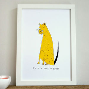 'Spot Of Bother' Leopard Illustrated Children's Print - animals & wildlife