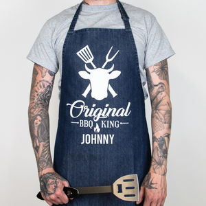 Personalised Denim Original Bbq King Father's Day Apron