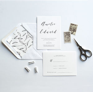Mono Wedding Invitation - save the date cards