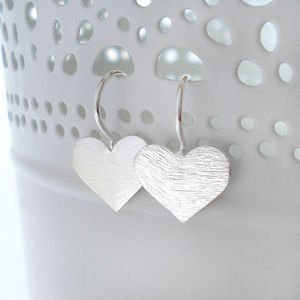 Sterling Silver Brushed Heart Earrings - earrings