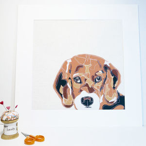 Personalised Fabric Dog Portrait Textile Art - pet portraits