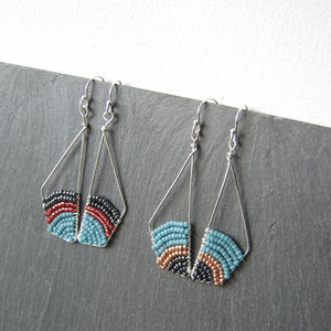 Contemporary Geometric Silver Earrings - earrings