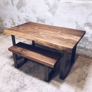 U Shaped Legs Live Edge Walnut Dining Table - furniture