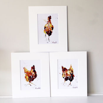 Hen Prints, Three Red Hens