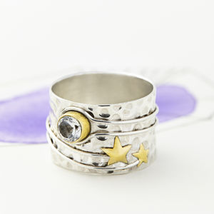 Celestial Moon Silver Ring - rings