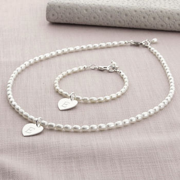 Girl's Personalised Hope Necklace And Bracelet Set