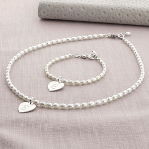 Girl's Personalised Hope Necklace And Bracelet Set - christening jewellery