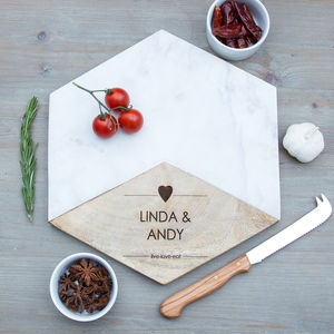 Personalised Hexagon Marble Platter