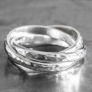 Personalised Silver Hammered Triple Linked Ring