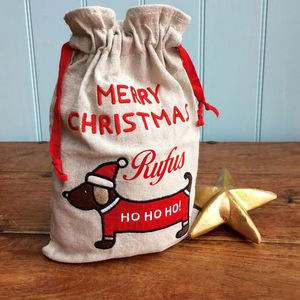 Personalised Christmas Sack Or Treat Bag For Your Dog - dogs