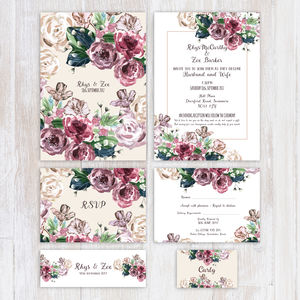 Vintage Floral Wedding Stationery In Purple - invitations