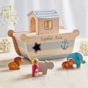 Personalised Noah's Ark Wooden Toy - christening gifts