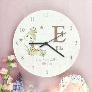 Personalised Giraffe Or Rabbit Design Wooden Clock - baby's room