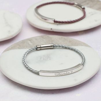 PERSONALISED SILK AND SILVER TWIST BRACELET - HEATHER AND GREY
