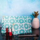 Personalised Moroccan Teal Large Wash Bag