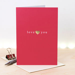 Love Card; Love You Metallic Gold Foil Card - shop by occasion