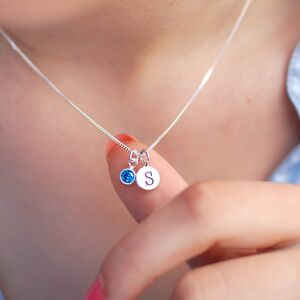 Sterling Silver Mini Initial And Birthstone Necklace