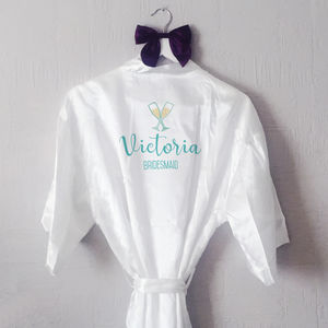 Personalised Prosecco Glass Bridesmaid Robe