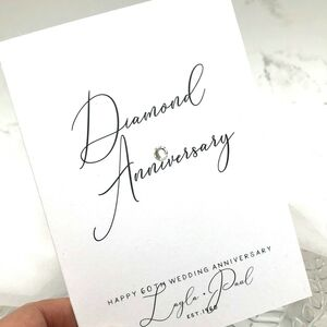 60th Diamond Jewel Personalised Anniversary Card