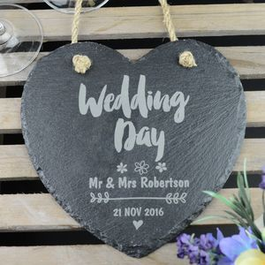 Mr And Mrs Personalised Heart Wedding Slate - outdoor decorations